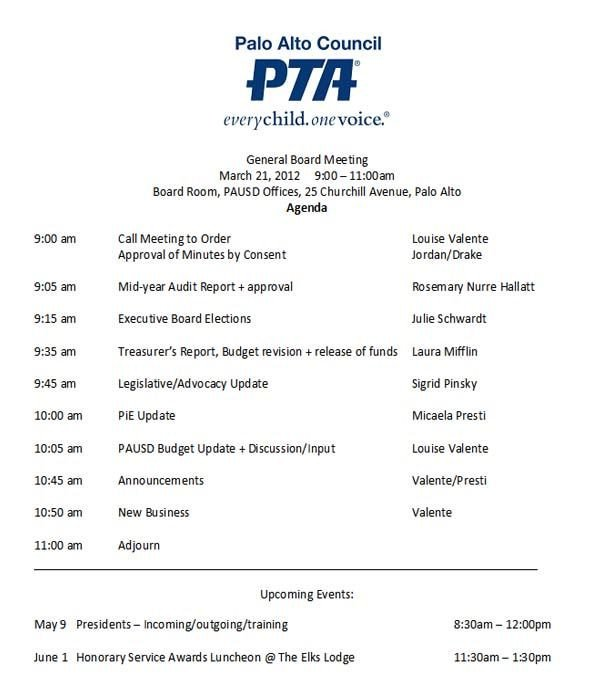 Pto Meeting Minutes Template Pta Meeting Agenda Template Google Search