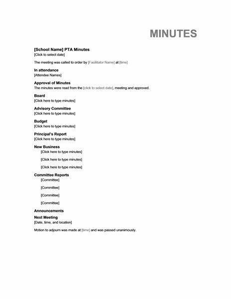 Pto Meeting Minutes Template Pta Meeting Minutes Templates