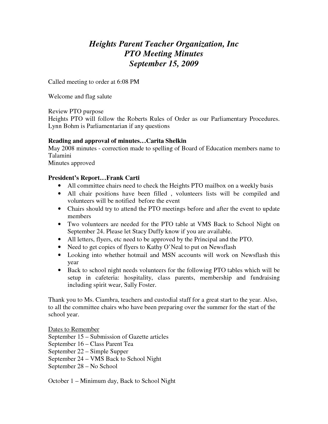 Pto Meeting Minutes Template Pto Minutes Template