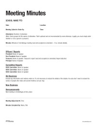 Pto Meeting Minutes Template Pto today Meeting Minutes Sample Pto today