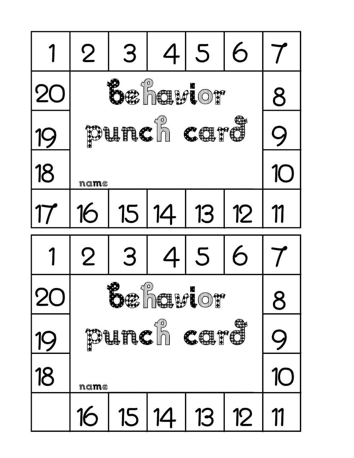 Punch Card Template Word Behavior Punch Card Classroom Freebies