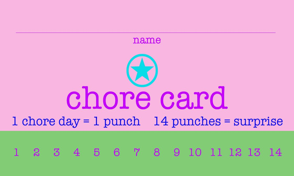 Punch Card Template Word Free Printable Chore Punch Cards