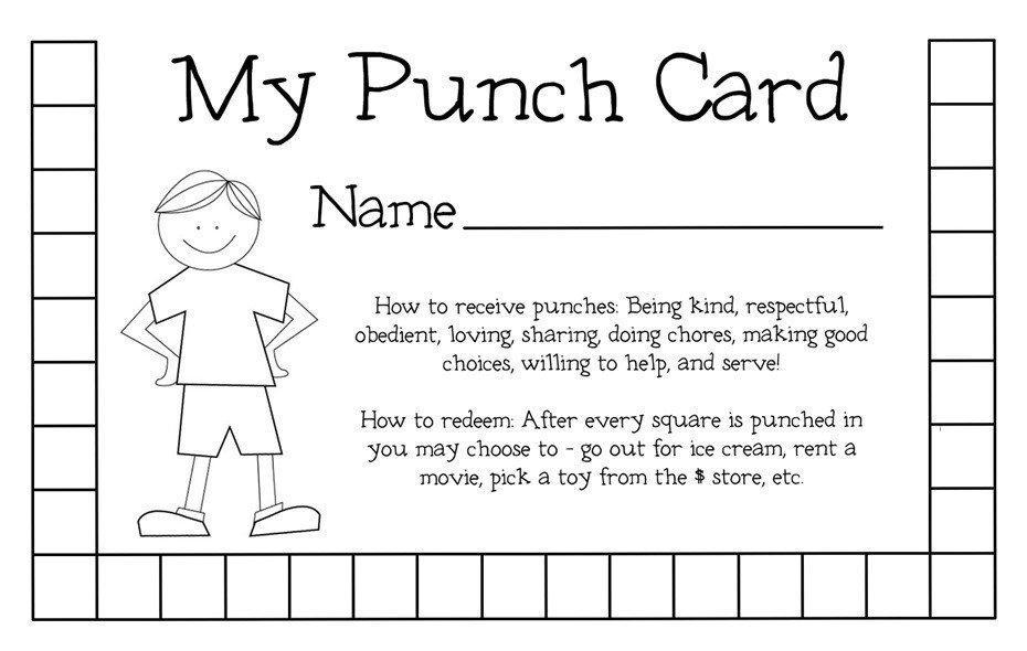 Punch Card Template Word organizing