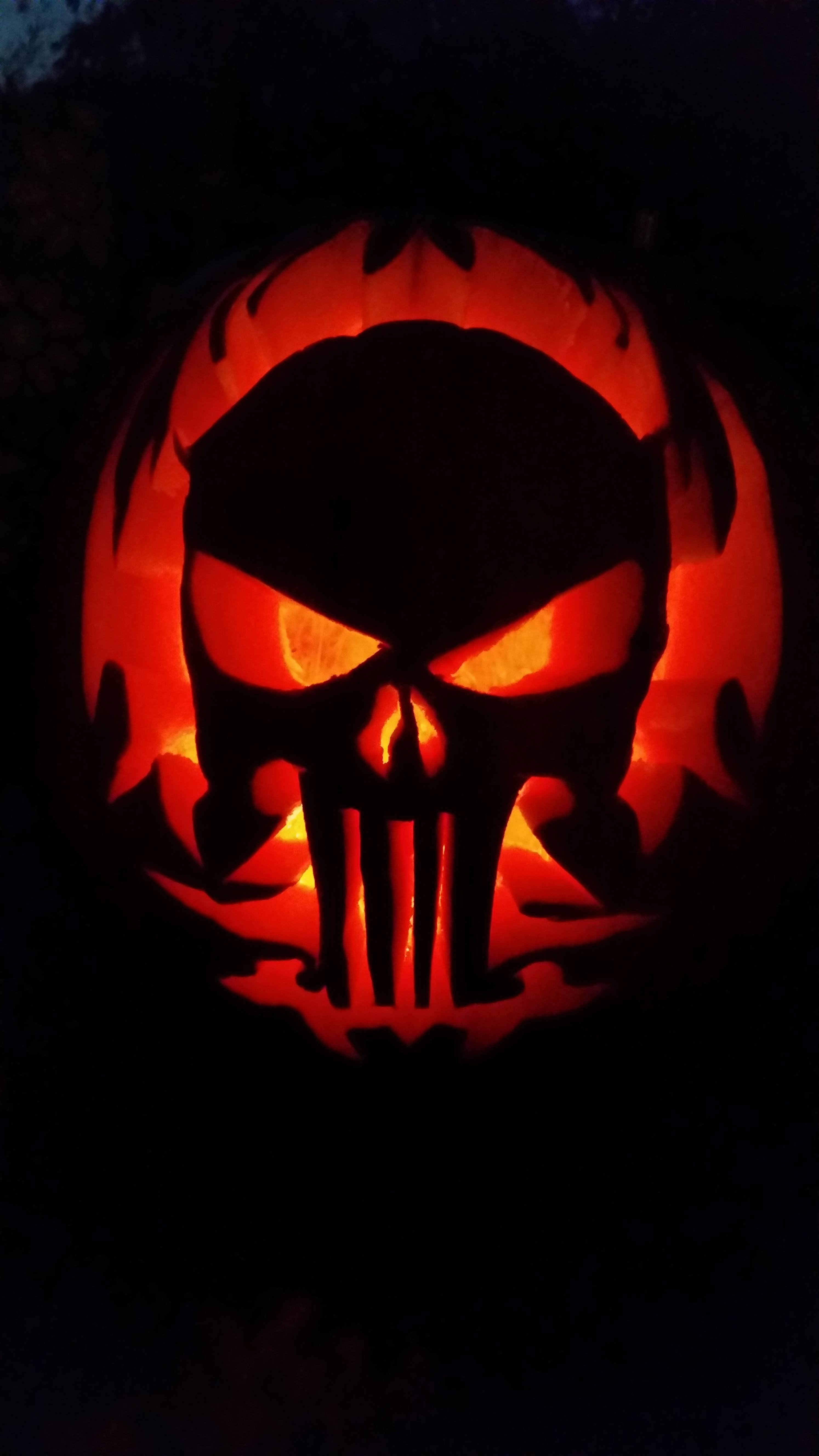 Punisher Skull Pumpkin Punisher Pumpkin Carving Creepy