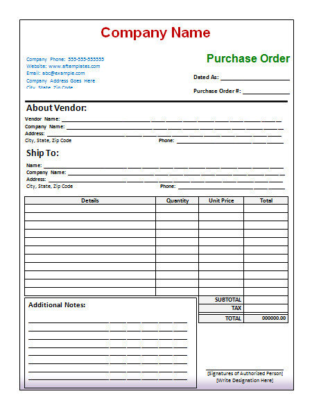 Purchase order Template Excel 40 Free Purchase order Templates forms