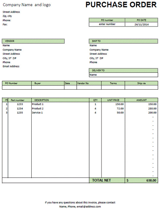 Purchase order Template Excel Excel Purchase order Template Excel