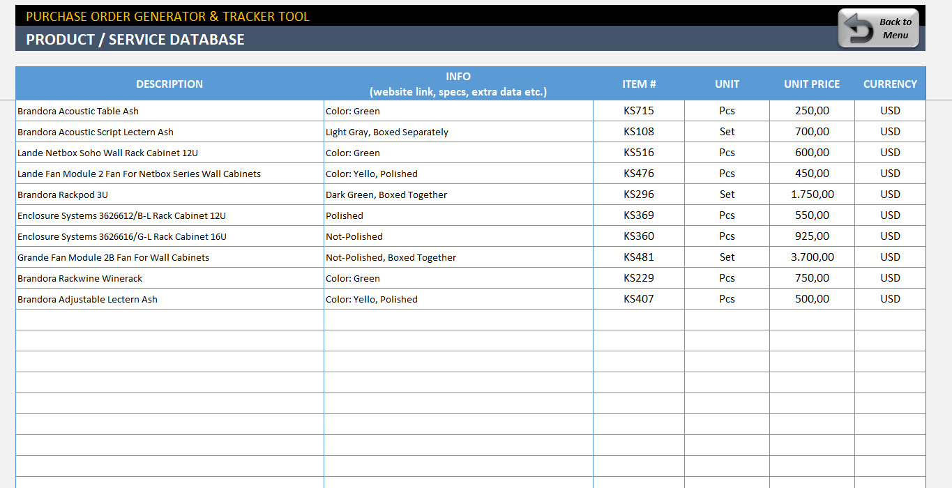Purchase order Template Excel Excel Purchase order Template Ready to Download