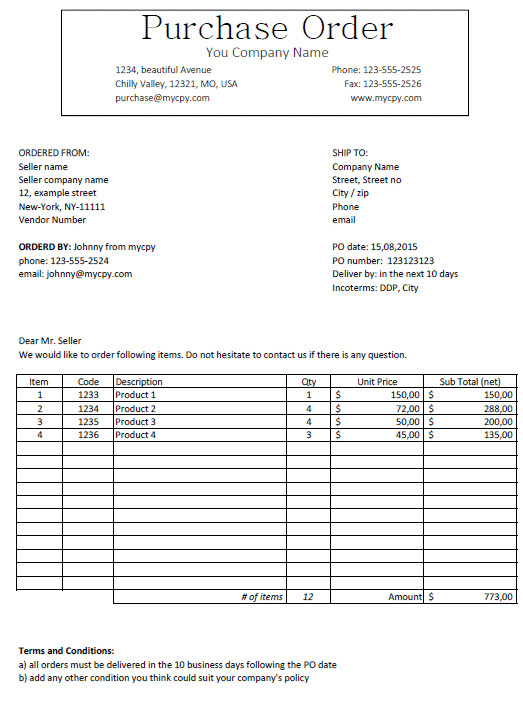 Purchase order Template Excel Excel Template Free Purchase order Template for