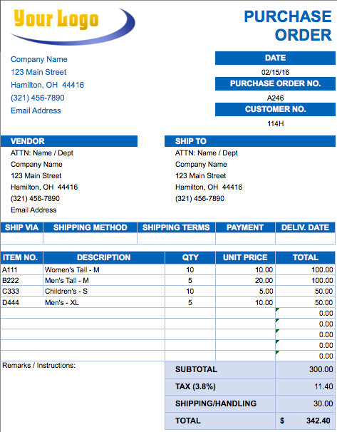 Purchase order Template Excel Free Excel Invoice Templates Smartsheet