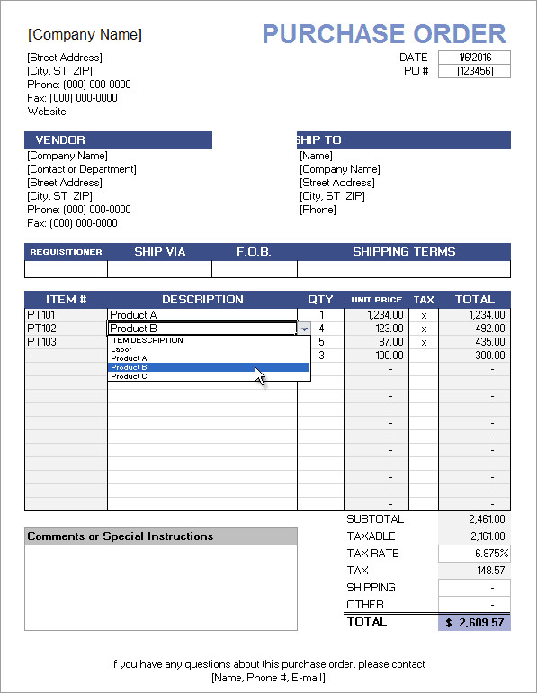 Purchase order Template Excel Free Purchase order Template with Price List