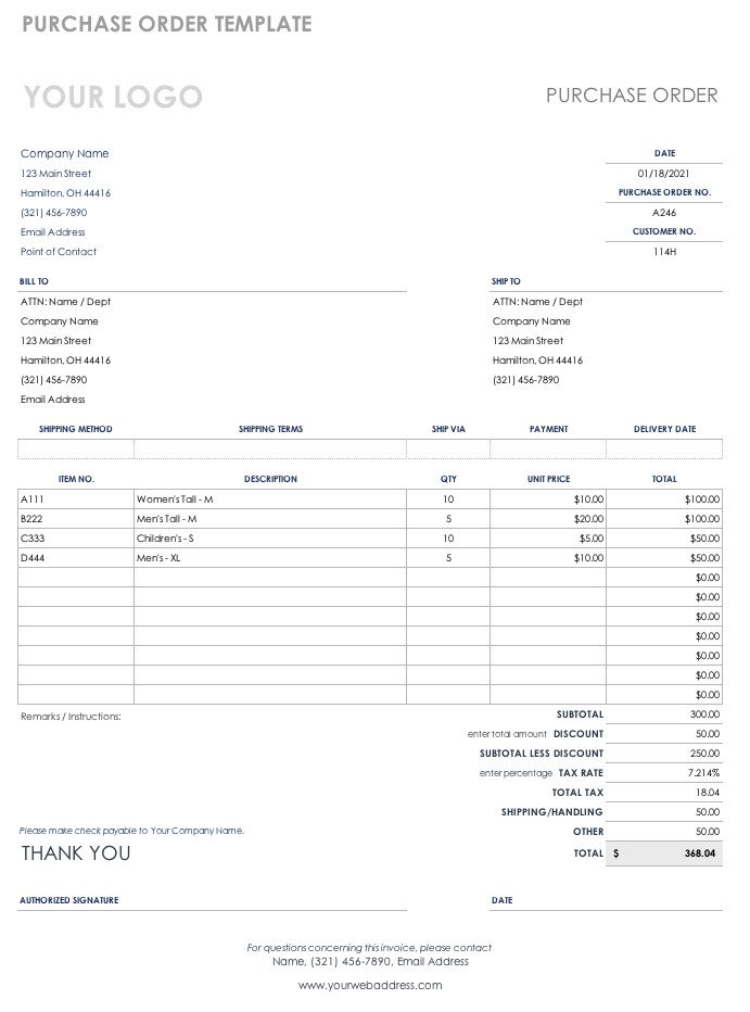 Purchase order Template Excel Free Purchase order Templates