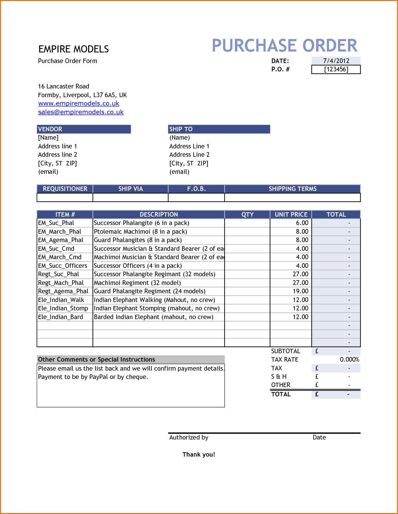 Purchase order Template Excel Purchase order Template Free Purchase order Template