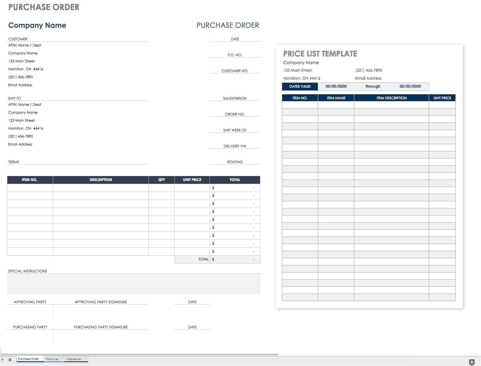 Purchase order Template Google Docs Free Purchase order Templates