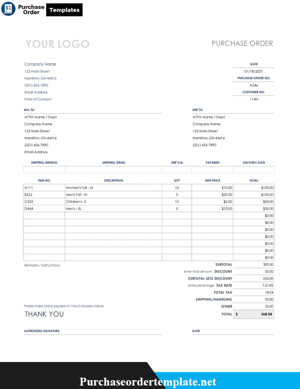 Purchase order Template Google Docs Purchase order Template