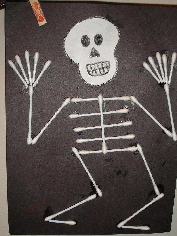 Q Tip Skeleton Head Template Q Tip Skeleton Craft Template
