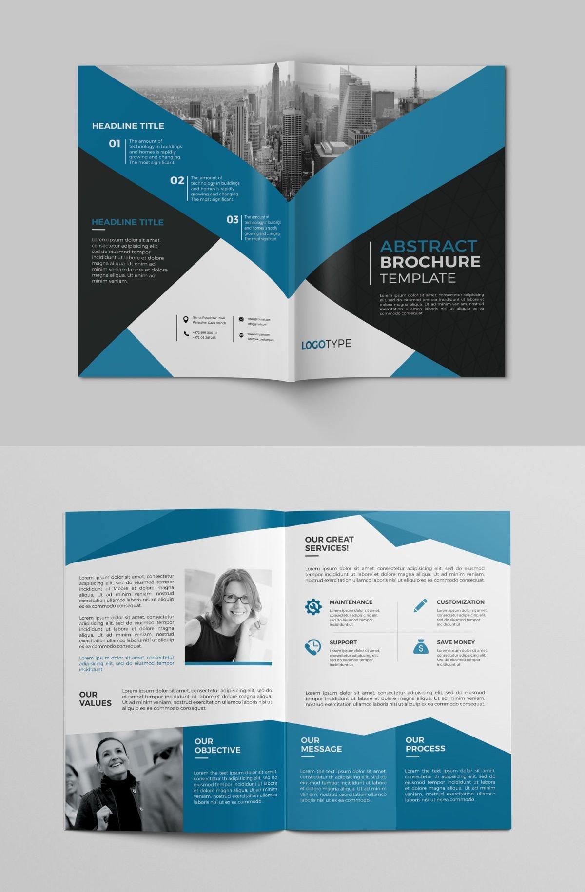 Quad Fold Brochure Template Corporate Bi Fold Brochure Template Psd