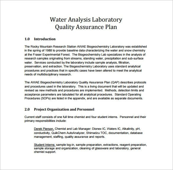 Quality assurance Plan Templates 16 Quality assurance Plan Templates Free Sample