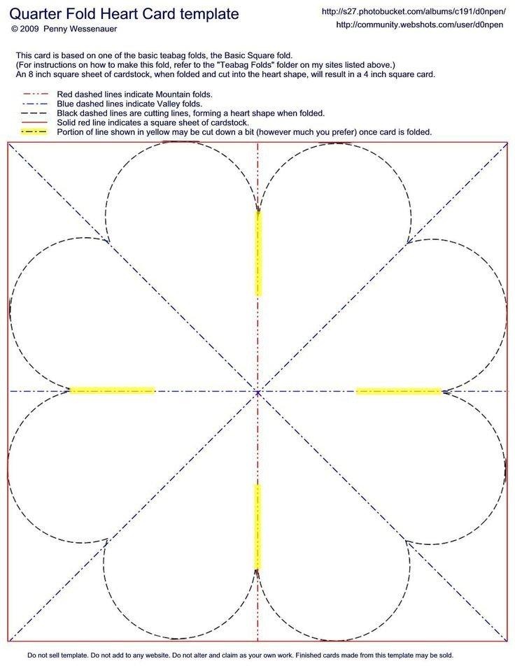 Quarter Fold Card Template Quarter Fold Heart Card Template Card Folds