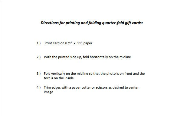 Quarter Fold Card Templates Quarter Fold Card Template – 7 Free Printable Word Pdf
