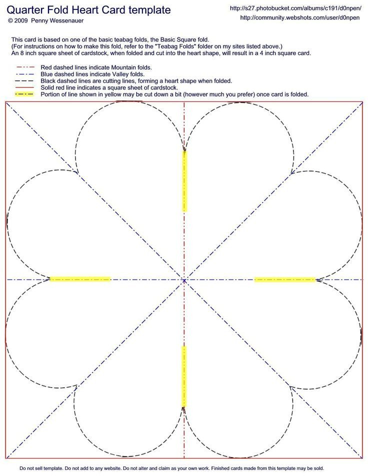 Quarter Fold Card Templates Quarter Fold Heart Card Template Card Folds