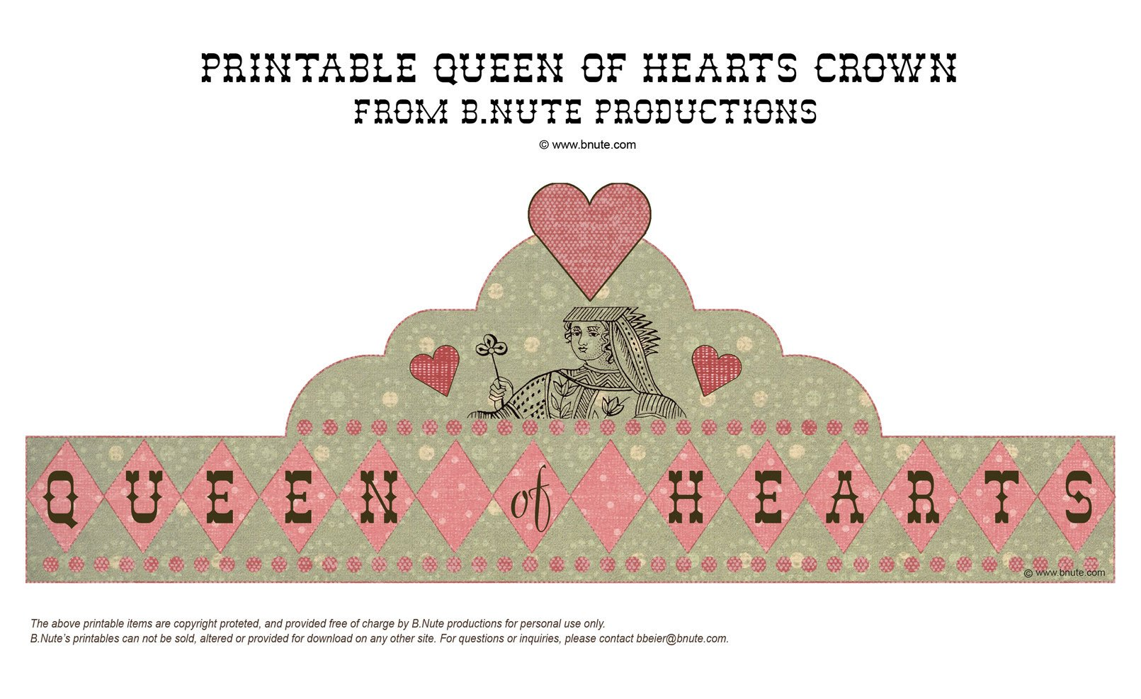 Queen Of Hearts Crown Template Bnute Productions Mad Hatter Tea Party Printable Queen