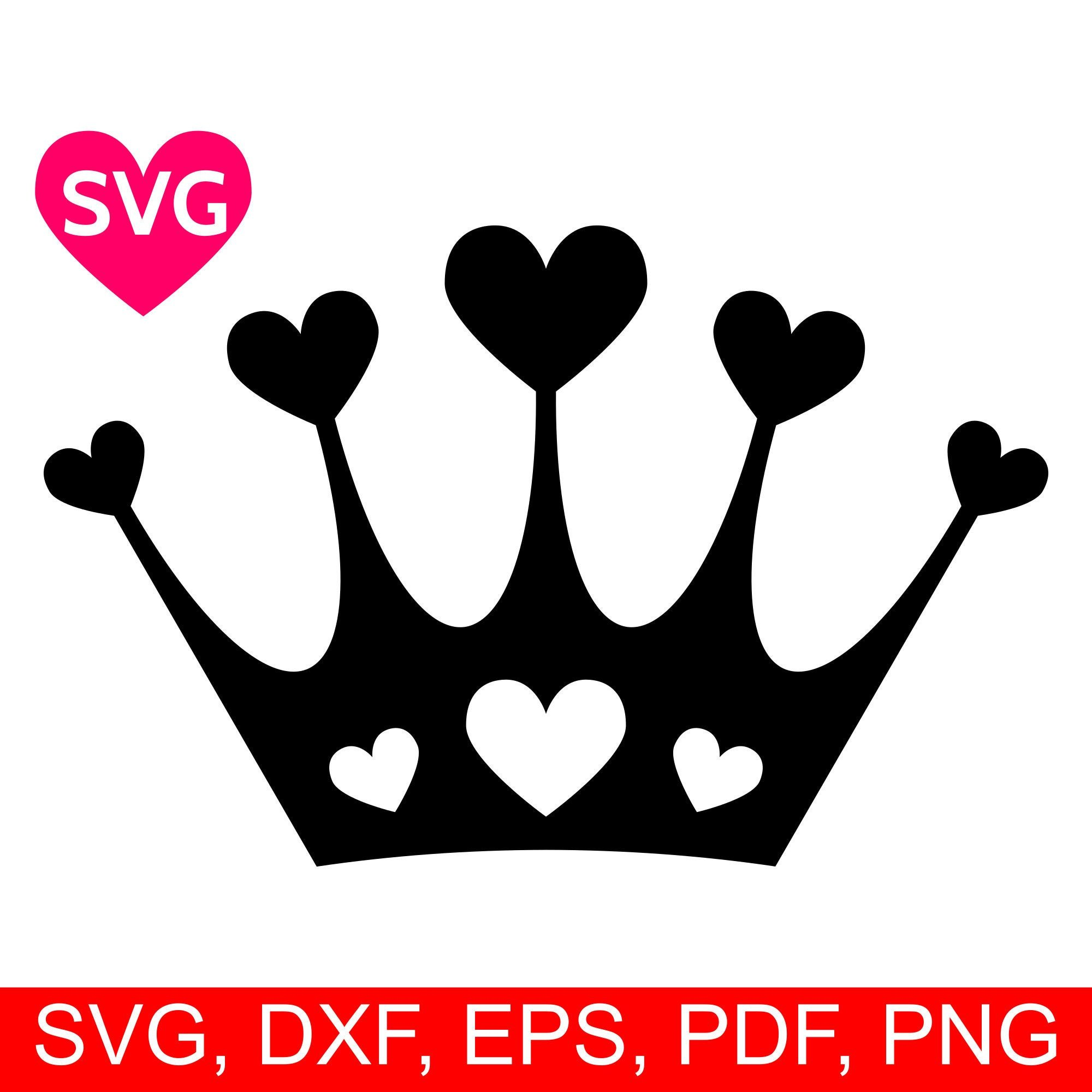 Queen Of Hearts Crown Template Hearts Crown Svg Love Tiara Printable Clipart A