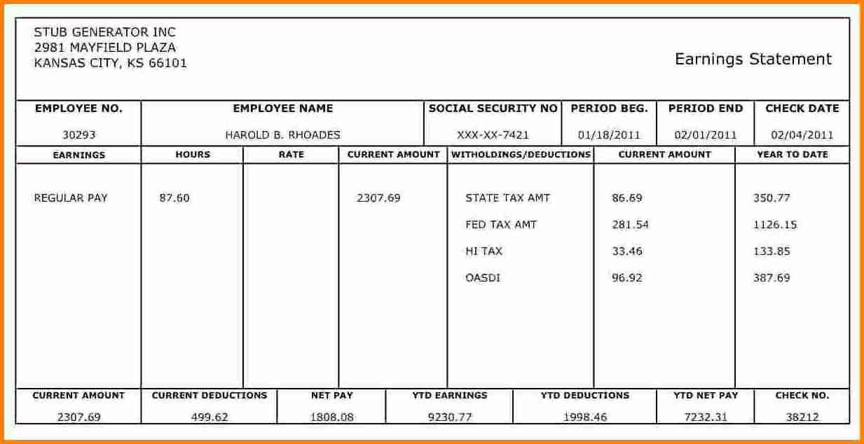 Quickbooks Check Template Word 10 Pay Stub Template for 1099 Employee