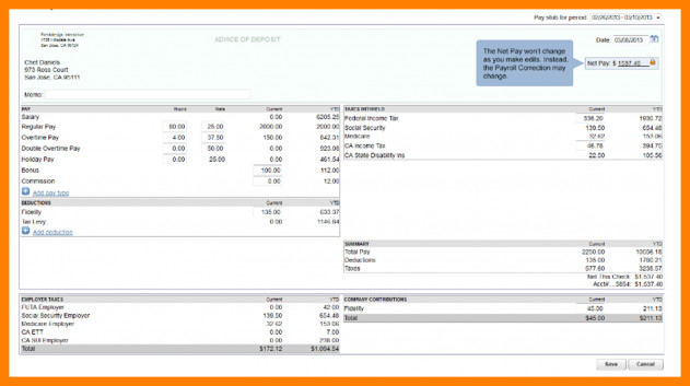 Quickbooks Check Template Word 6 Quickbooks Pay Stub Template
