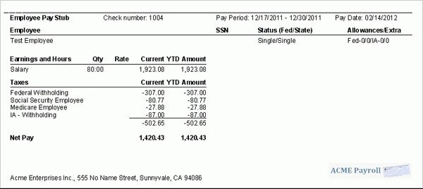 Quickbooks Check Template Word 9 Printable Paycheck Stubs
