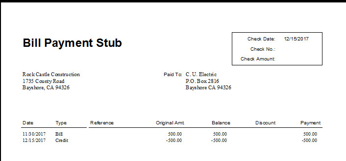 Quickbooks Check Template Word Best S Of Zero Balance Bill Quickbooks Pay Stub