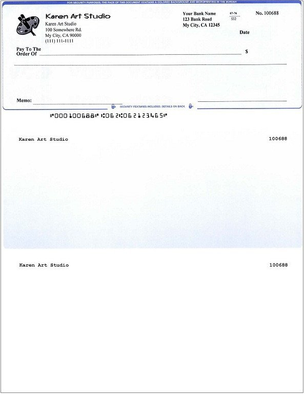 Quickbooks Check Template Word Blank Business Check Template