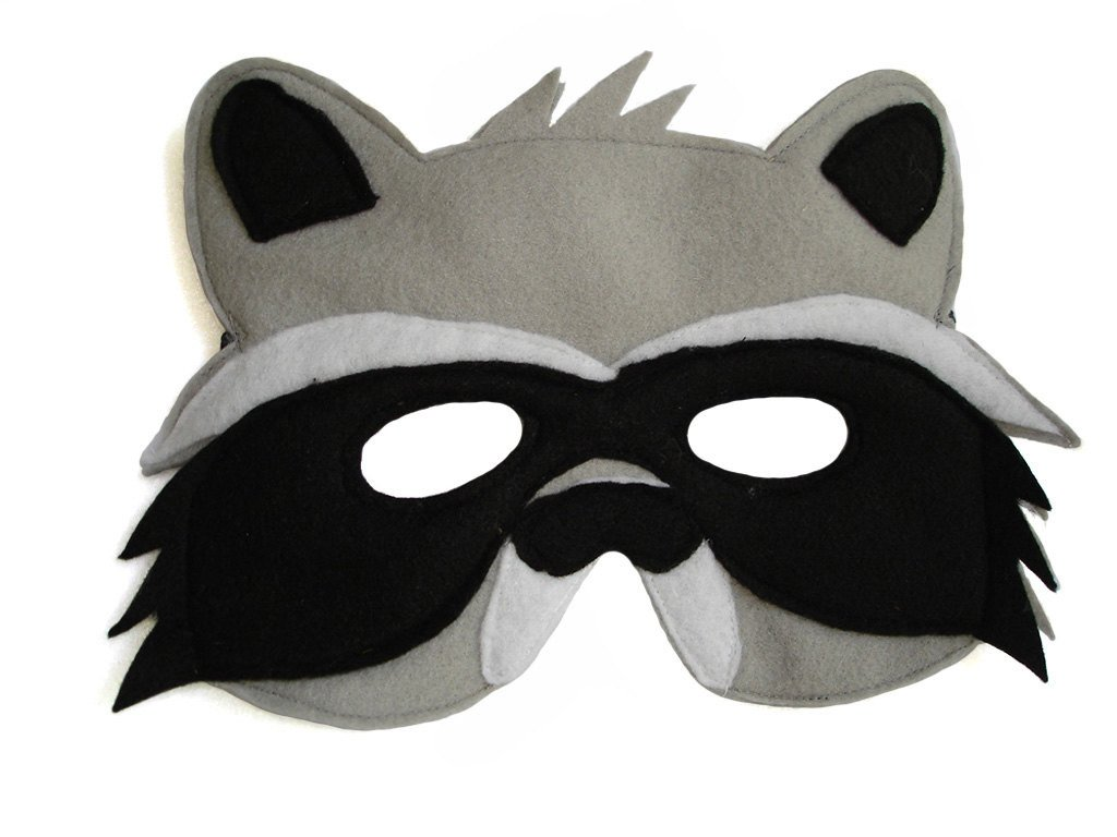 Raccoon Mask Printable Children S Woodland Animal Raccoon Felt Mask