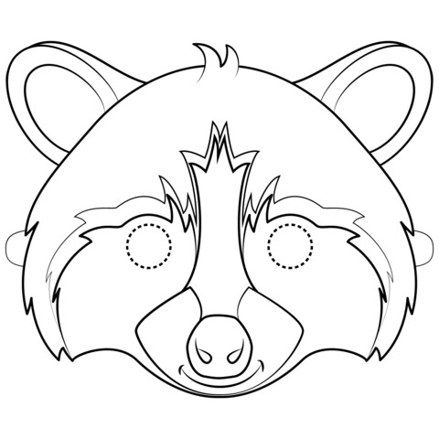 Raccoon Mask Printable Raccoon Mask Coloring Page