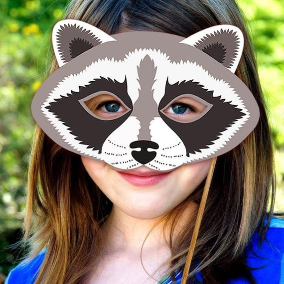 Raccoon Mask Printable Raccoon Mask Printable Animal Masks Woodland by Lmeprintables