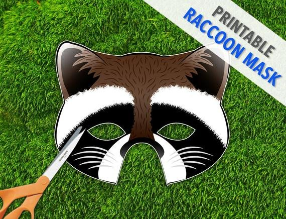 Raccoon Mask Printable Raccoon Printable Party Mask Halloween Mask by therasilisk