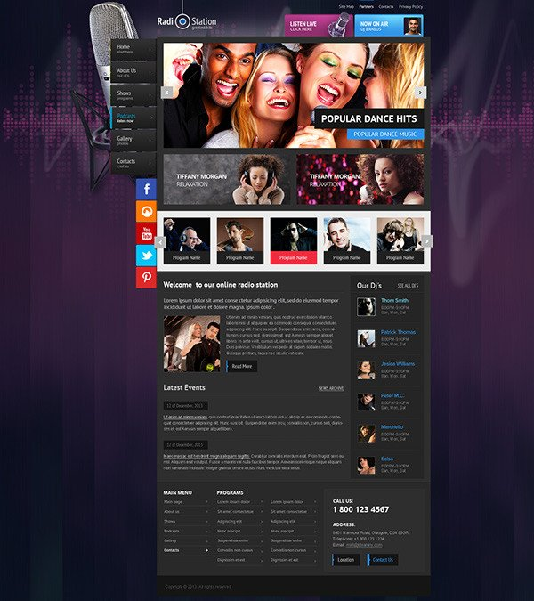 Radio Station Wordpress theme Radio Station Wordpress theme On Behance