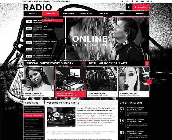 Radio Station Wordpress theme Radio themes Line Radio Station Templates