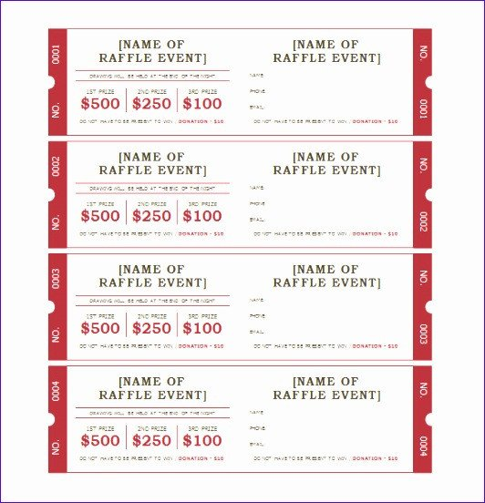Raffle Ticket Template Excel 10 Raffle Ticket Template Excel Exceltemplates