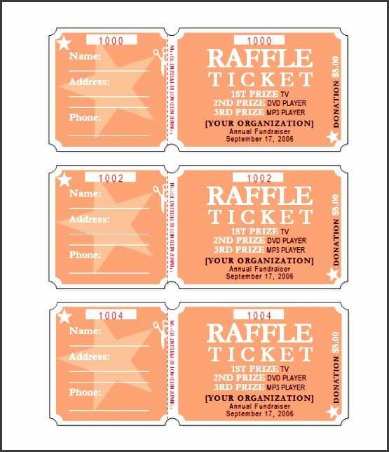 Raffle Ticket Template Excel 4 Simple Raffle Ticket Template Sampletemplatess