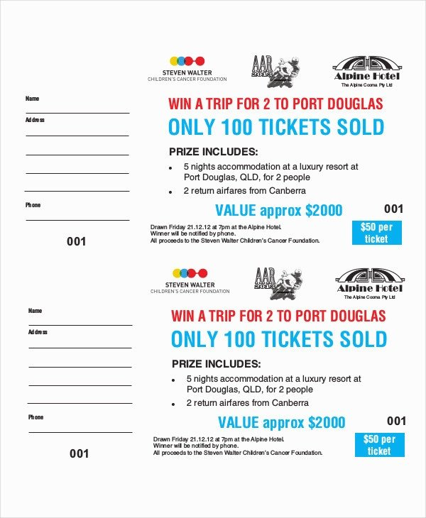 Raffle Ticket Template Excel Free Raffle Ticket Template Ten solid Evidences attending