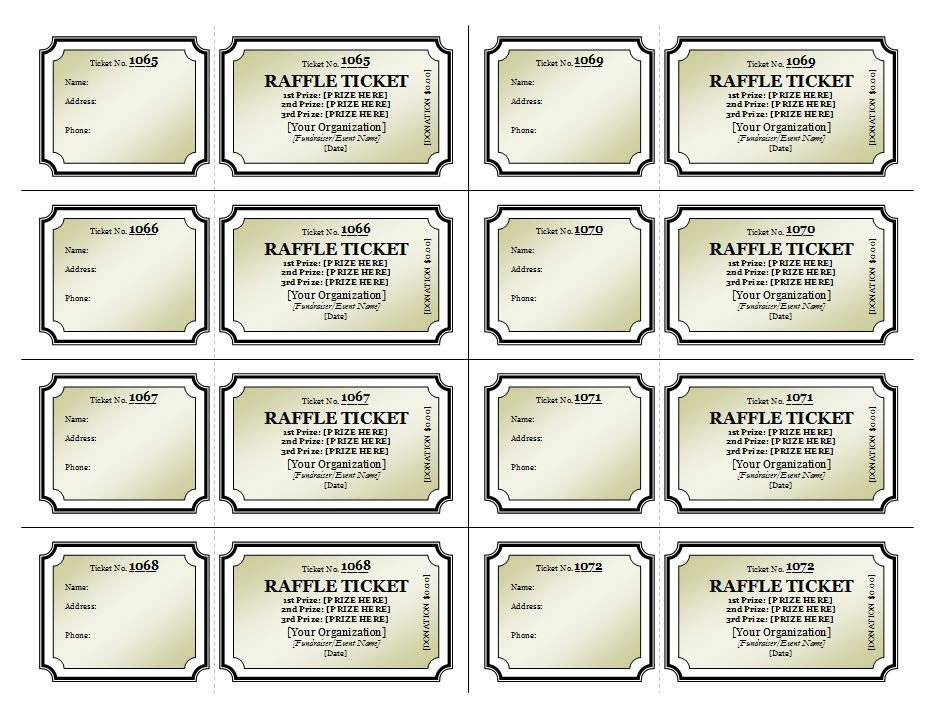 Raffle Ticket Template Excel Raffle Ticket Template
