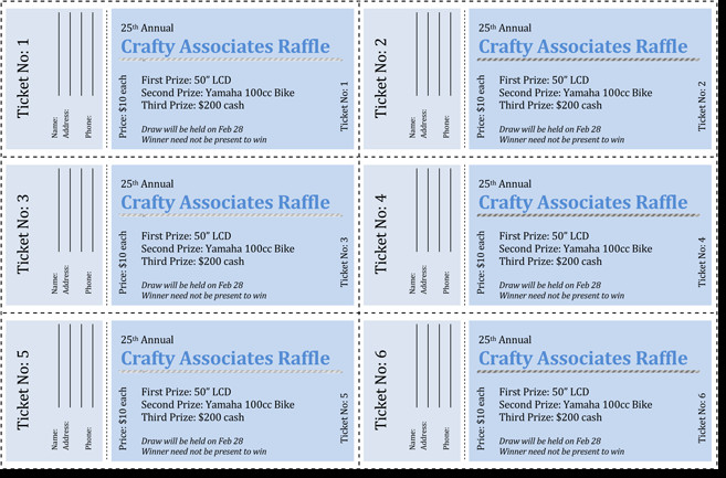 Raffle Tickets Template Word 20 Free Raffle Ticket Templates with Automate Ticket
