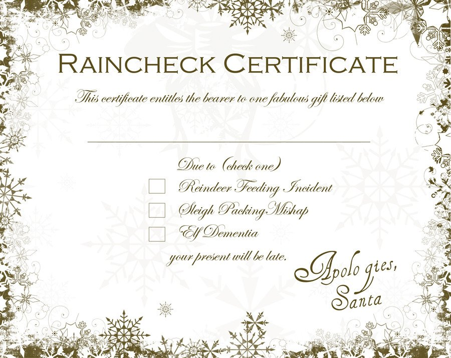 Rain Check Images Santa Raincheck Certificate Free Able – Dabbled