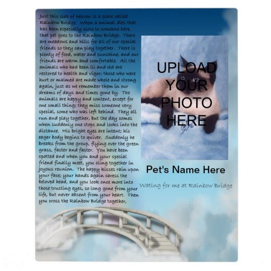 Rainbow Bridge Template Pet Memorial Rainbow Bridge Plaque Personalize