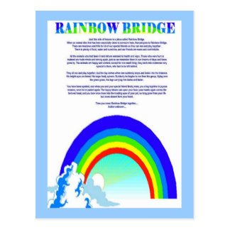 Rainbow Bridge Template Rainbow Bridge Poem Pet Loss Sympathy Card Postcards
