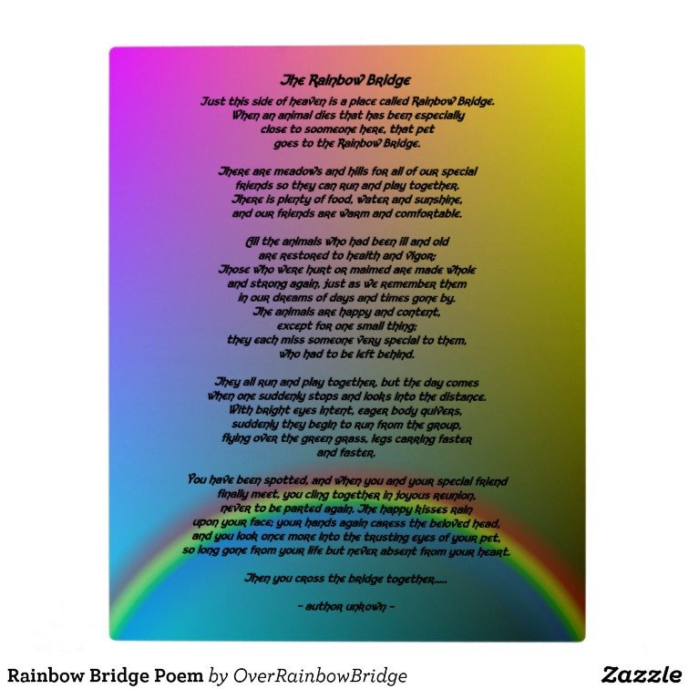 Rainbow Bridge Template Rainbow Bridge Poem Plaque