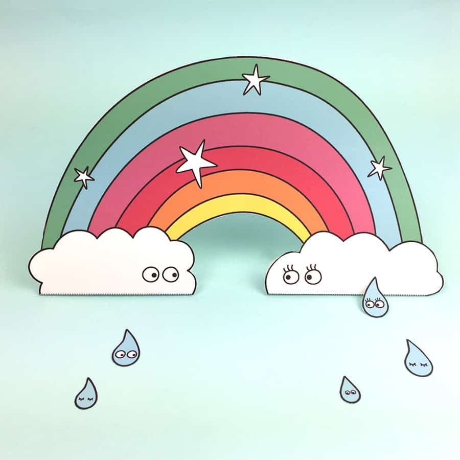 Rainbow Pictures to Print Free Printable Paper Rainbow with Coloring Option