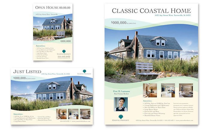 Real Estate Ad Templates Coastal Real Estate Flyer & Ad Template Design