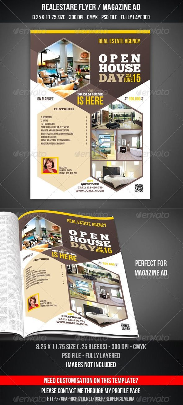 Real Estate Ad Templates Real Estate Open House Flyer Magazine Ad