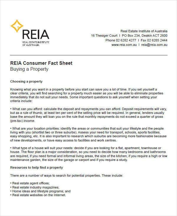 Real Estate Fact Sheet Template 40 Free Fact Sheets